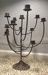 13 Candle Wrought Iron Table Stand Candelabra Candle Holder