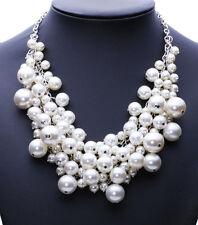 Collar Choker con Perlas Cadena de Mujer Elegante Para Cuello Ajustable  ~ #C62