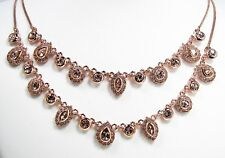 Givenchy Crystal Necklace Rose Gold Tone Double Strand Chase Collection MSRP$125