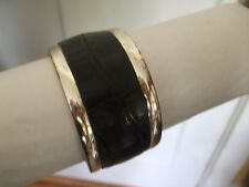 WIDE SILVERTONE WITH INSET BLACK FAUX EMBOSSED CROC LEATHER BANGLE BRACELET