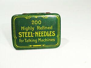 Antiguo Gramófono Nadeldose 200 Highly Reflejar Steel Agujas Envase Lata