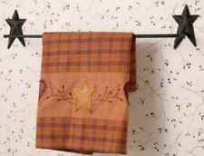 "Star Towel Bar 16"" Wide Wall Mount Holder Black Wrought Iron Bath Accessories"