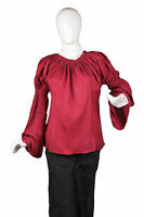 Caribbean Pirate Renaissance Wench Medieval Costume Girl Red Blouse Top 1770