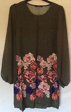 George Ladies Women Green Floral Dress Size UK 8 EU 36. New !