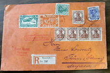 1920 COVER DARMSTADT GERMANY PLASMON POSTER STAMPS TIED ON BACK