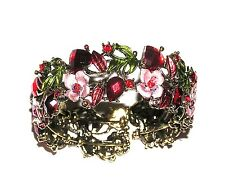 BRACELET Hinged Bangle Red Mauve Green INTRICATE FLORAL DESIGN