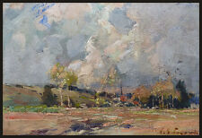 Paul Emile LECOMTE Petite peinture impressionniste fin du 19e siècle paysage
