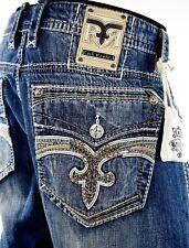 "$220 Mens Rock Revival Jeans ""Tripp"" Leather Inserts Faux Straight Leg 40 X 33"