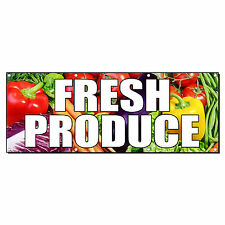 FRESH PRODUCE FARMER'S MARKET FOOD FAIR 2 ft x 4 ft Banner Sign w/4 Grommets