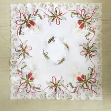 """Christmas Tablecloth White Vintage Embroidered Lace Table Cover Mat Doilies 33"""""""