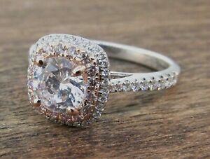 Simon G 18K White & Rose Gold Halo Pink & White Diamond Engagement Ring Setting