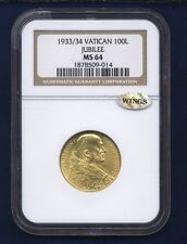 VATICAN CITY 1933-34 100 LIRE GOLD COIN CHOICE UNCIRCULATED, CERTIFIED NGC MS-64