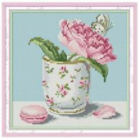 Flower DIY Handmade Needlework Counted 14CT Printed Cross Stitch Embroidery Kit