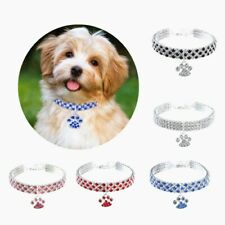 Allacki Crystal Stud Heart Pendant Dog Collar Shining Necklace for Small Pets