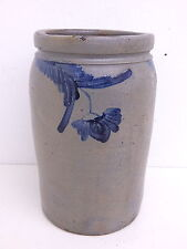 Antique Stoneware Cobalt Blue Flower 1 1/2 Gallon Pickling Crock