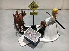 Hunt Hunting Humor Funny Bride Groom Wedding Cake Topper Bud Beer Cooler Buck