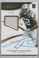 LEONARD WILLIAMS 2015 PANINI IMMACULATE RPA ROOKIE PATCH AUTO RC SP /99 JETS