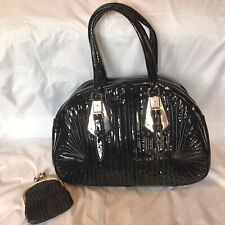 Large Black Patent Leather Pleated Bag by CHEEKY BUDHA and Clarks black Purse