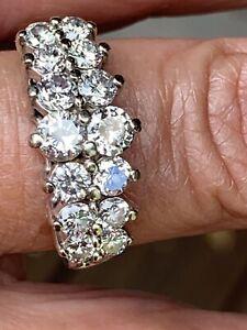 14K WhiteGOLD DOUBLE ROW PYRAMID STYLE 1-1/2 CT DIAMOND RING size 9.25