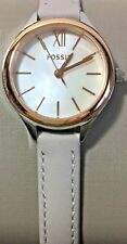 Fossil Womens Watch Suitor Mini Mother of Pearl Beige Leather Band Rose Gold