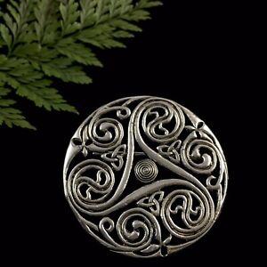 Striking Celtic Triskelion Trinity Triquetra Round Spiral Silver Brooch Pin