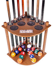 Cue Rack Only - 8  Pool Billiard Stick &  Ball Floor Stand W Scorer Oak Finish