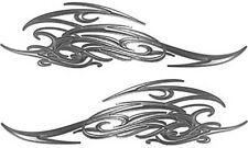 """Tribal Scroll Motorcycle Tank Flame Decals Silver 13.5"""" REFLECTIVE FL16"""