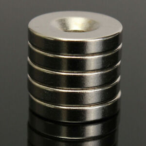 50Pcs Super Strong Round Disc Ring Magnet Rare Earth Neodymium 15mm x 3 Hole 4mm