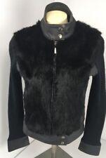 Bebe Rabbit Fur Trim Cenuine Leather Jacket Coat Sweater Arms Black Sz S UNIQUE