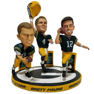 Bart Starr Brett Favre Aaron Rodgers Green Bay Packers Bobblehead Set w/AR