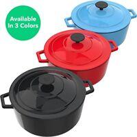 Cast Iron 6 Quart Dutch Oven Pot with Lid Large Cookware Kitchen Cooking