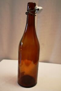"""Antique Glass Bottle Amber Color Swing Top Closure Beer Or Mineral Water Rare""""13"""