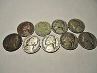 LOT OF 9 OLD NICKEL COINS  1941, 1943S, 1945S, 1948, 1949, 1954, 1957, 2-1959D