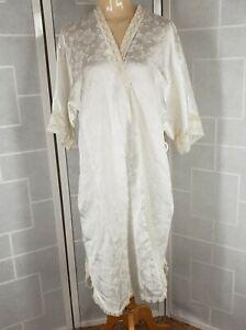 Vintage Christian Dior Lingerie Robe Lace Trim Satiny Shiny White