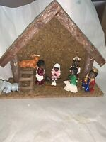 8 Figure African American Black Christmas Nativity Set w/ Stable With Extras