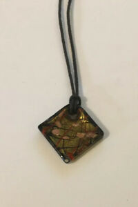 Glass Diamond Pendant Necklace Shimmering Brown