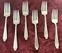 "ANTIQUE Set of 6 ""MILFORD SILVER COMPANY"" (6-1/4"") Dessert Forks ~ Dover Pattern"