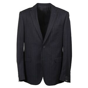 Z Zegna Charcoal Stripe and Sky Blue Stripe Flannel Wool Suit 44R NWT
