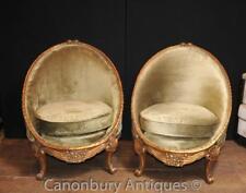 Pair French Empire Tub Arm Chairs Gilt Sofa Seat Armchairs