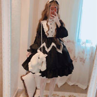 Women Girls Lolita Dress Cosplay Costume Kawaii Ruffle Puff Sleeve Black Vintage