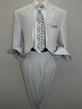 Mens RENOIR 100% Linen Summer Suit Pin Stripe Light Notch Lapel  606-6 White NEW