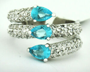 BLUE TOPAZ 1.52 Cts & WHITE SAPPHIRE RING Silver Plated * NEW/TAG * Size 7.75