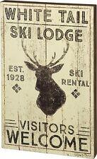 Weathered Wood Sign~WHITE TAIL SKI LODGE EST 1928 SKI RENTAL VISITORS WELCOME