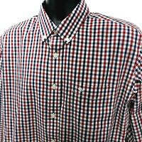 Dockers Shirt Mens Size XL Red White Blue Gingham Long Sleeve Button Front