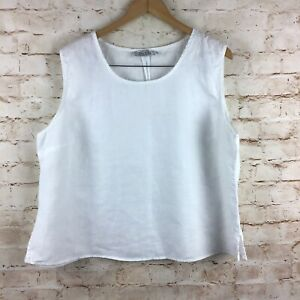 JSong Collection 100% Linen Womens Sleeveless White Tank Top Plus Size 20