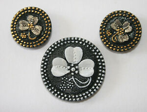 3 Antique Victorian Black Glass Shamrock Buttons