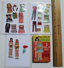Vintage Miniatuare Paper dolls - 2 dolls w/clothes & access - pre-cut