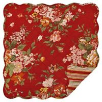 """Great Finds MARIE 24"""" Quilted Cotton Table Topper, Mini Quilt, Red Floral"""