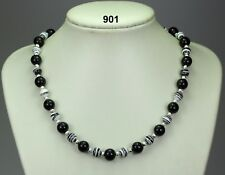 "Black onyx agate & striped b/white turkey turquoise bead necklace,silver 20""+2"