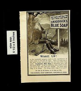 1902 Wake Up Craddock's Blue Soap Vintage Print Ad 20567